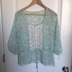 Light blue floral and lace shirt.